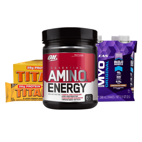 Amino Energy 65 Serve + Titan Protein Bars (Box) + 4 Pack of EAS RTD's