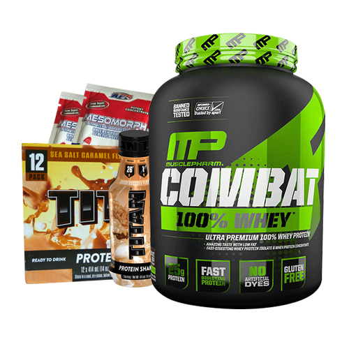 MusclePharm Combat 100% Whey 5lb + Titan Protein RTD 12 Pack & 2 Mesomorph Pre-Workout Sachets