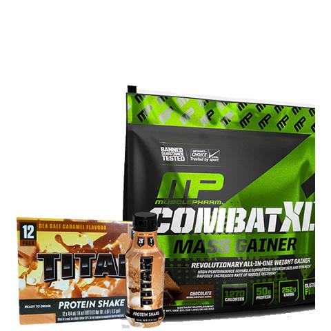 MusclePharm Combat XL Mass Gainer 12lb + Titan RTD 12 Pack