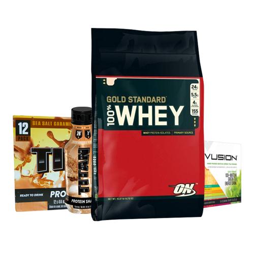 Gold Standard 100% Whey 10lb + TItan RTD's box of 12 & Vusion Green Tea 5 Serve
