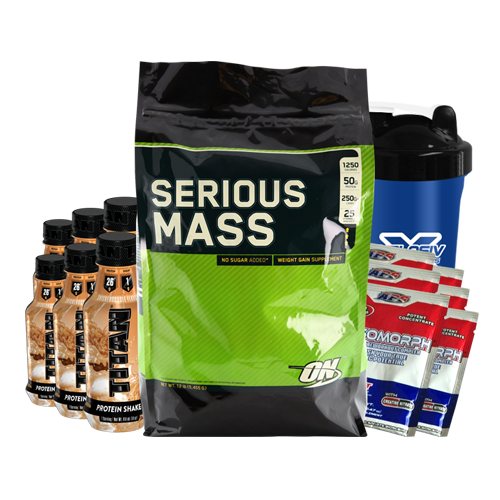 Serious Mass 12lb + Titan RTD Protein 6 Drinks + 6 MesoMorph Pre-Workout Sachets + Shaker