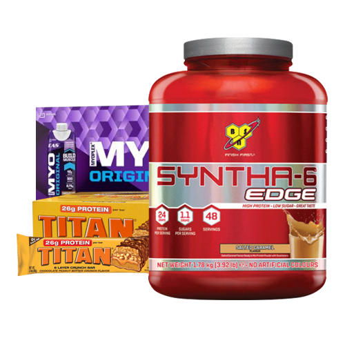 BSN Syntha-6 Edge 3.92lb + Case of 12 EAS Protein RTD's & Titan Protein Bars Box of 12 (CRAZY)